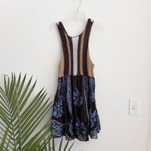 free people / blue tan knit  tank top striped xs